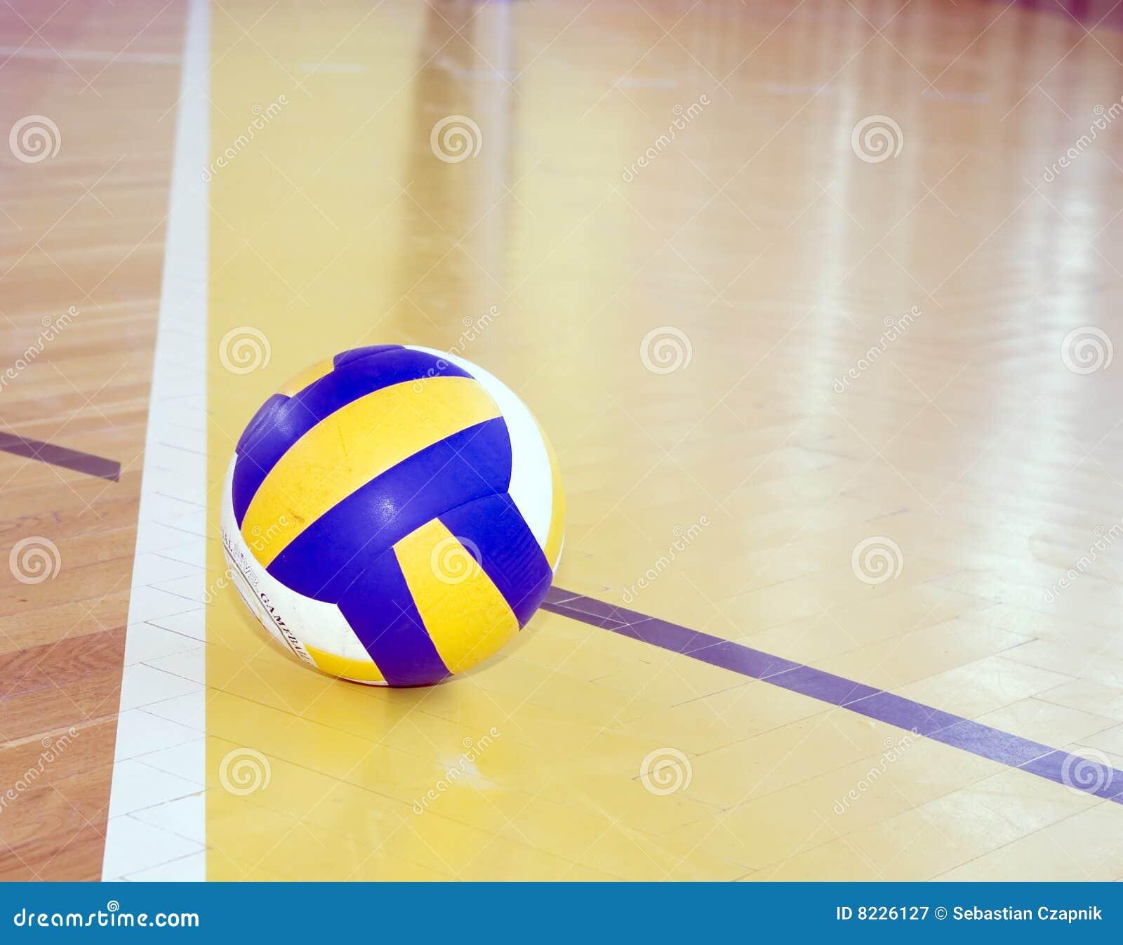 Volleyball On Hardwood Floor Stock Image Image 8226127