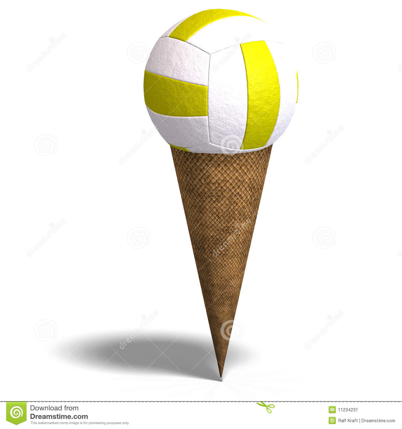 Volleyball In An Ice Cream Cone Stock Illustration Image