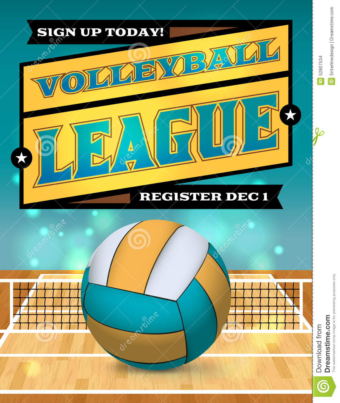 Volleyball League Flyer Illustration Stock Vector Image