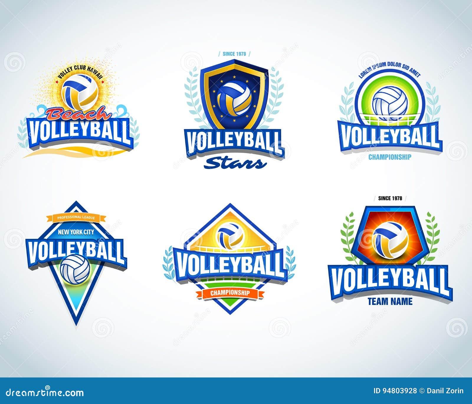 b4f7428d Volleyball logo templates set. Volleyball emblem, logotype template, t-shirt  apparel design. Volleyball ball.