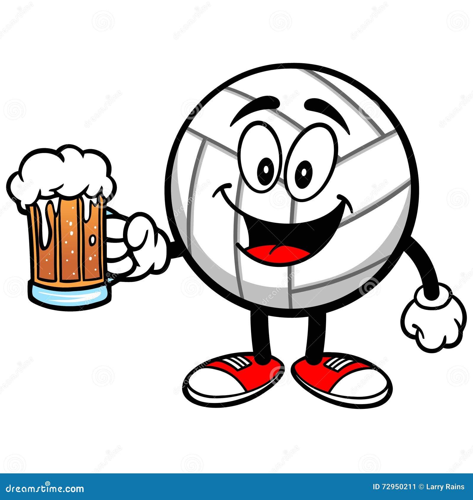 Volleyball Maskottchen Mit Bier Vektor Abbildung Bild