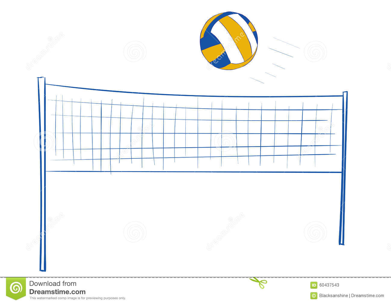 Volleyball network and the volleyball flying ball.