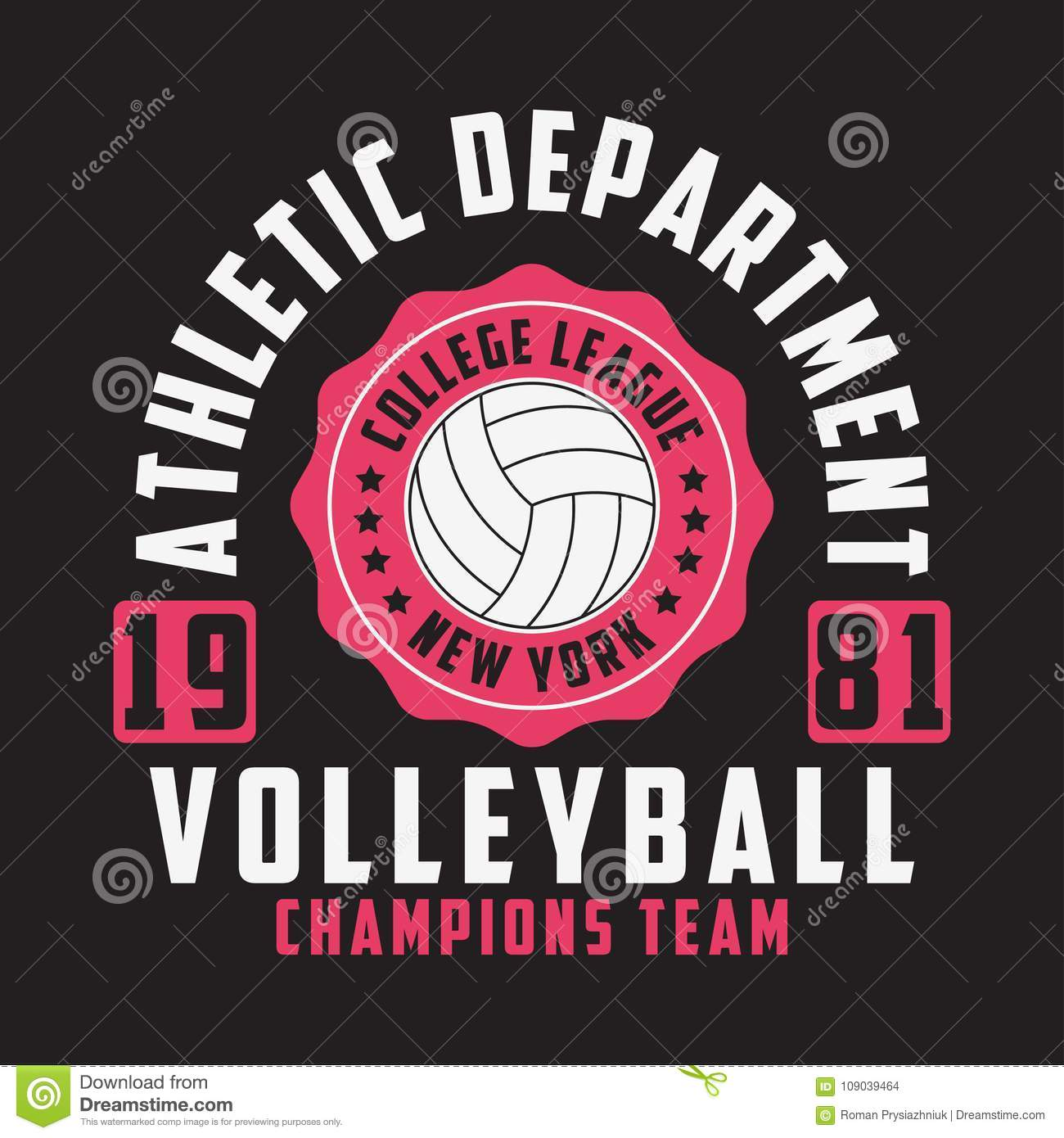 Volleyball New York Print For Apparel With Ball Typography Emblem