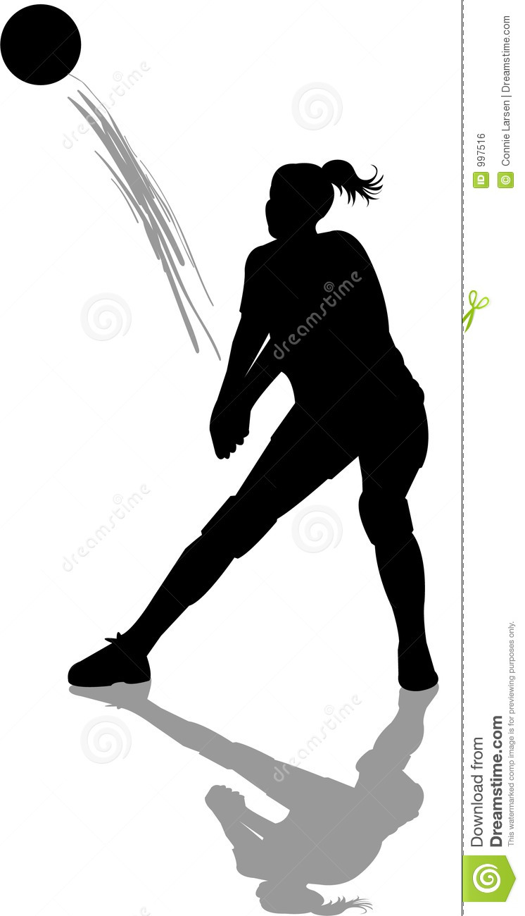 Illustration of a girl hitting a passing volleyball shot.
