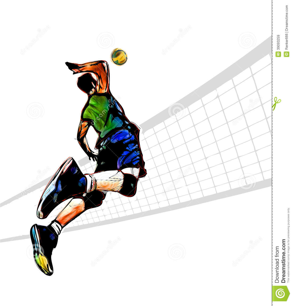 Volleyball Player Stock Illustration - Image: 39093259
