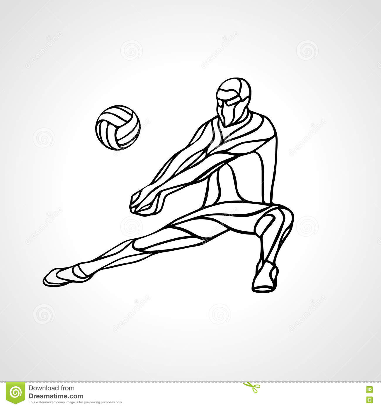 Volleyball Player Outline Silhouette Stock Vector ...