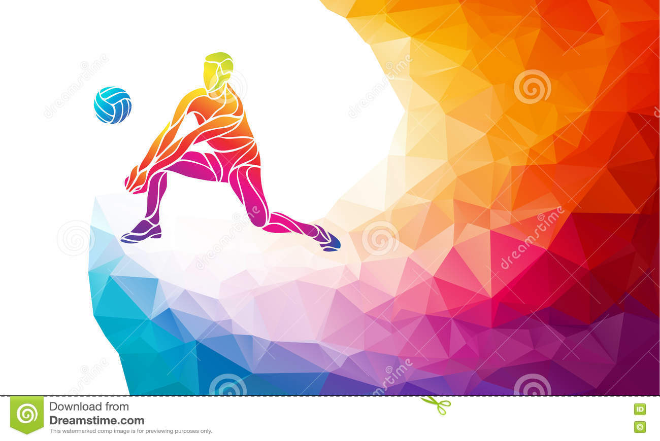 Abstract Background Volleyball Vector Design: Volleyball Player. Team Sport Vector Polygonal Banner