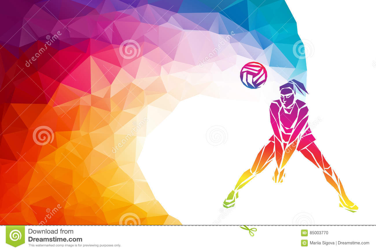 Illustration Abstract Volleyball Player Silhouette: Volleyball Player. Team Sport Vector Polygonal Banner