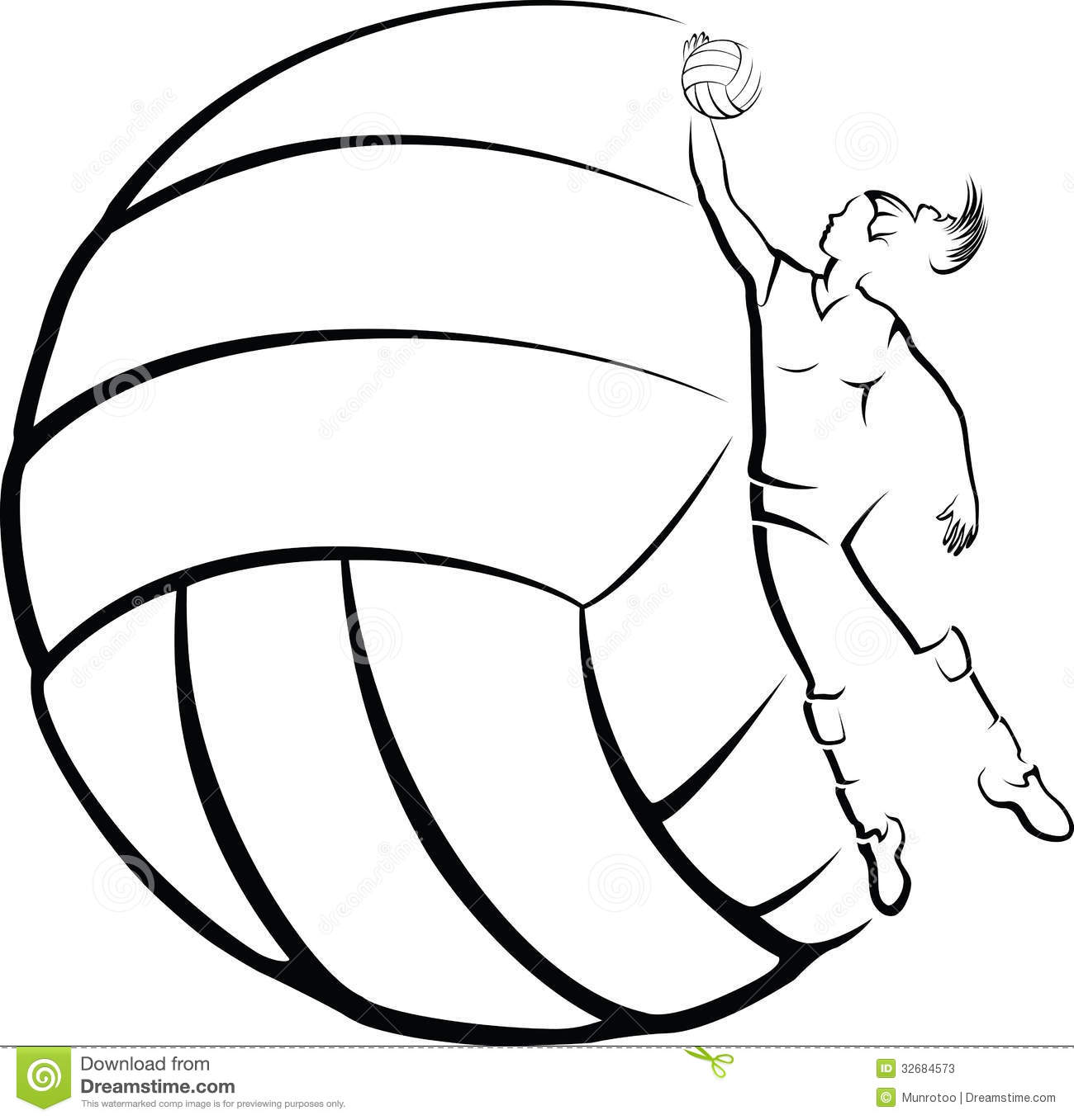 Vector illustration of a girl volleyball player in front of stylized ...