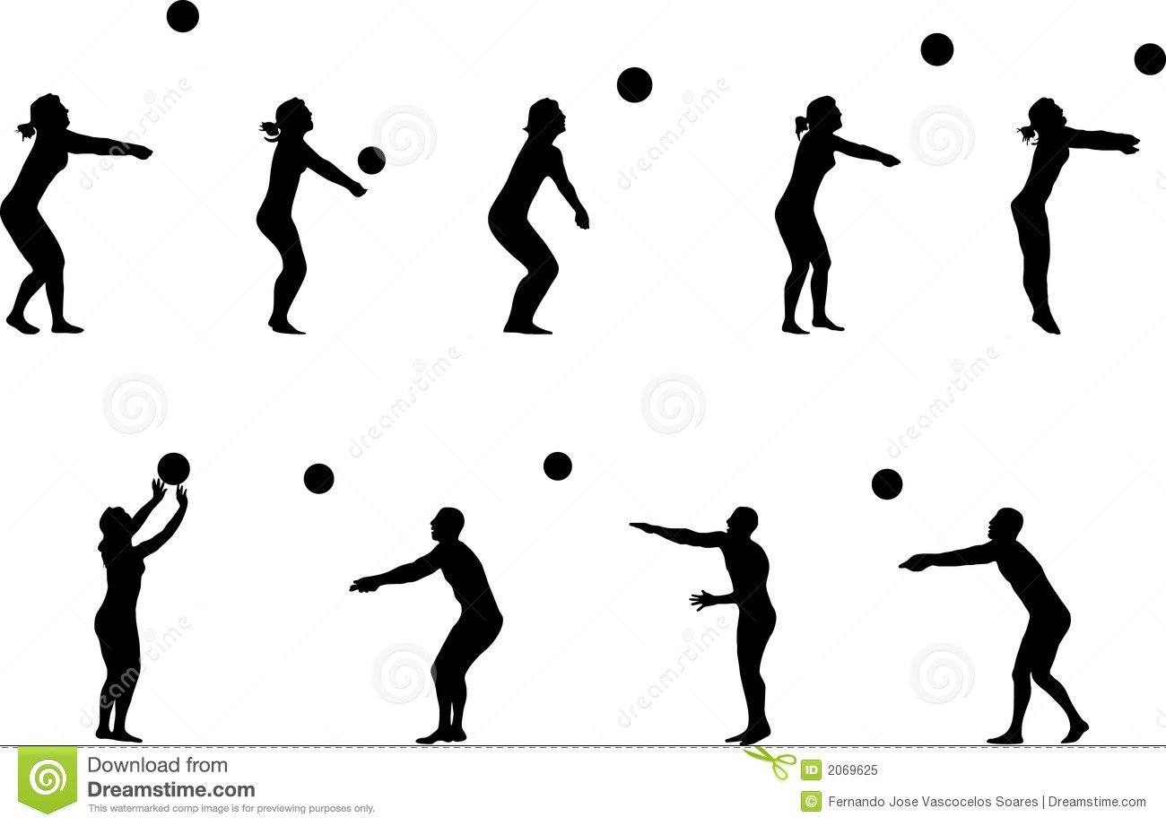 Volleyball Silhouettes Royalty Free Stock Photo - Image: 2069625