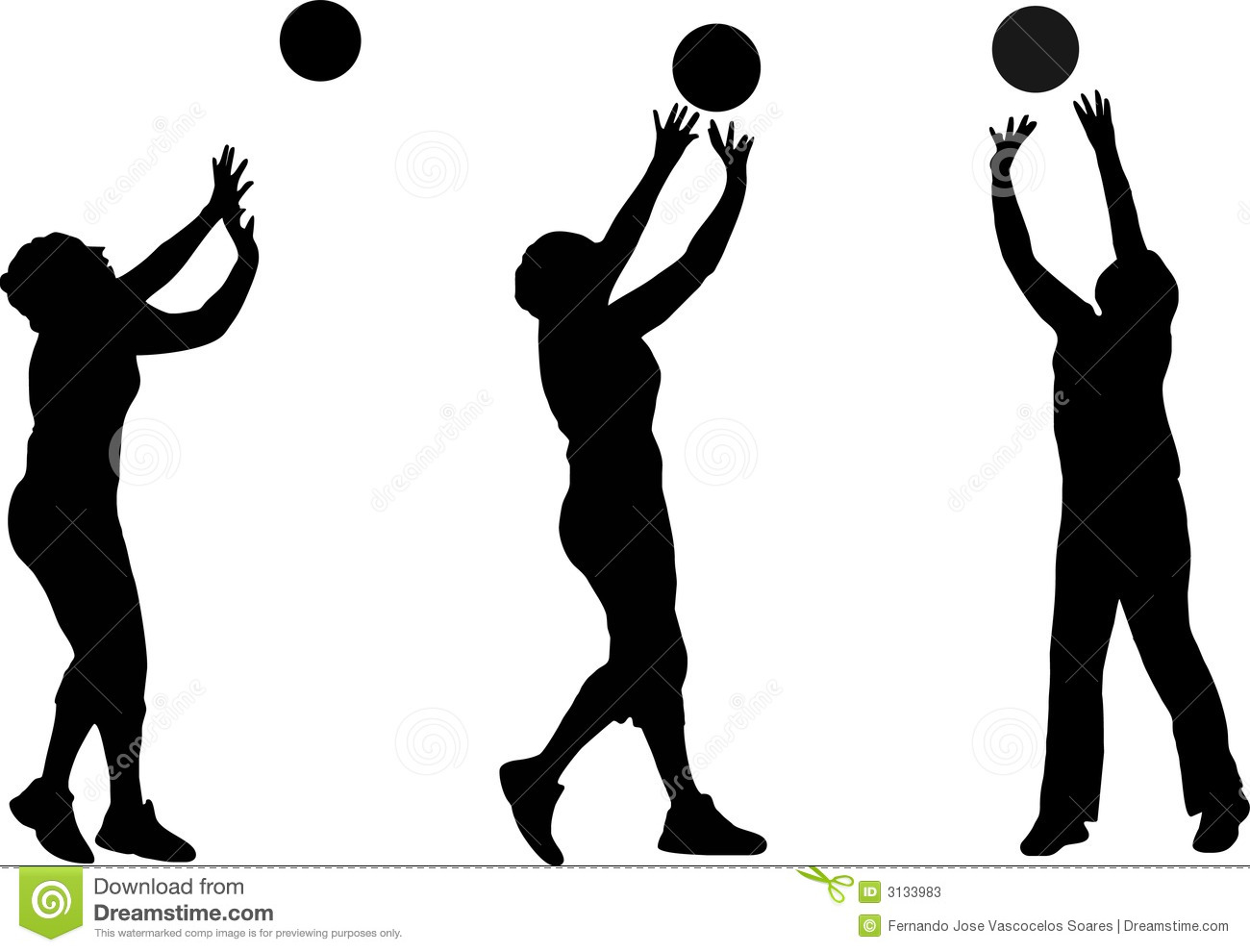Volleyball Silhouettes Stock Vector Illustration Of Recreation 3133983