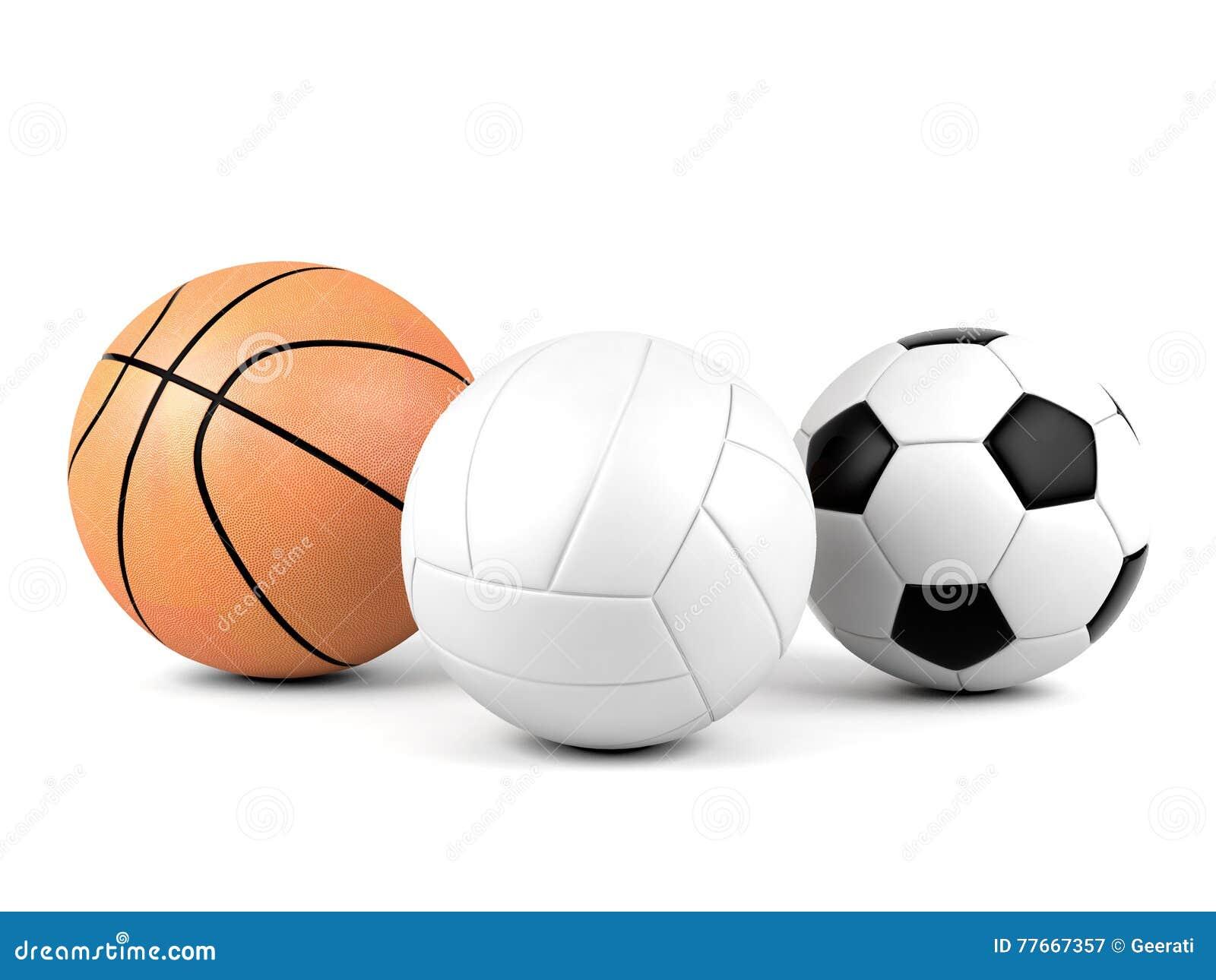 Volleyball, soccer ball, basketball, sport balls on white background