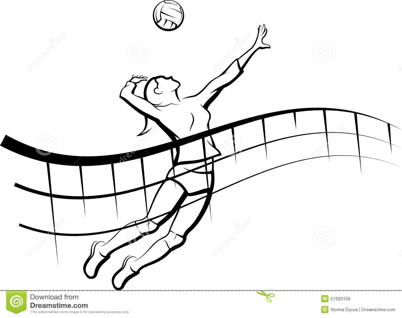 Volleyball spike with flowing net stock illustration