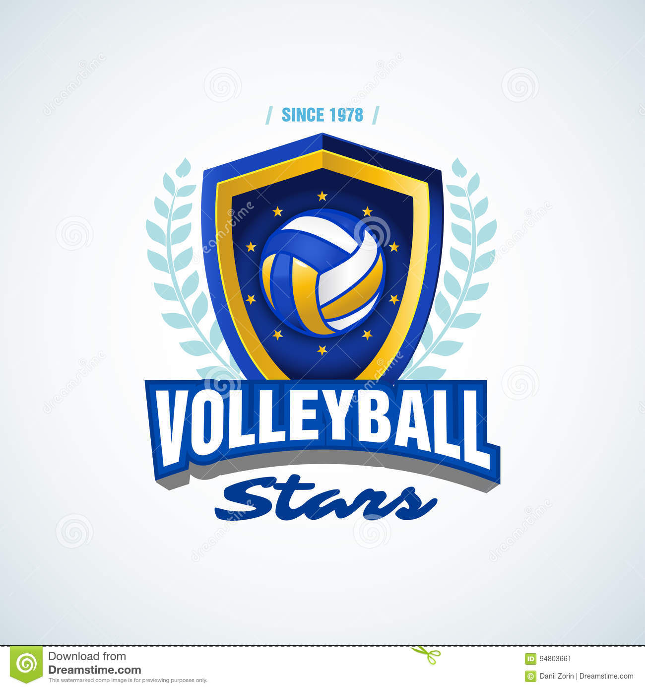 volleyball stars team logo template volleyball emblem logotype