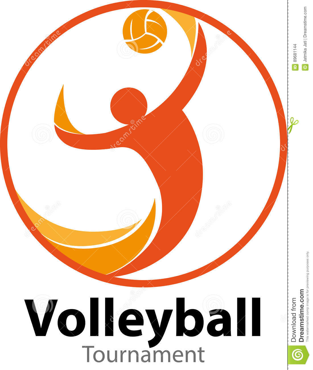 Volleyball Tournament Logo Event Stock Vector Illustration Of