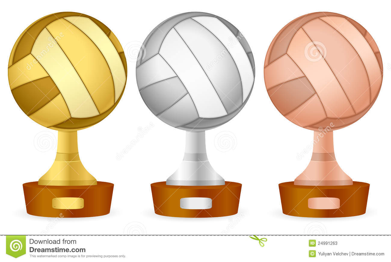 Volleyball Trophy Set Stock Vector. Illustration Of Third