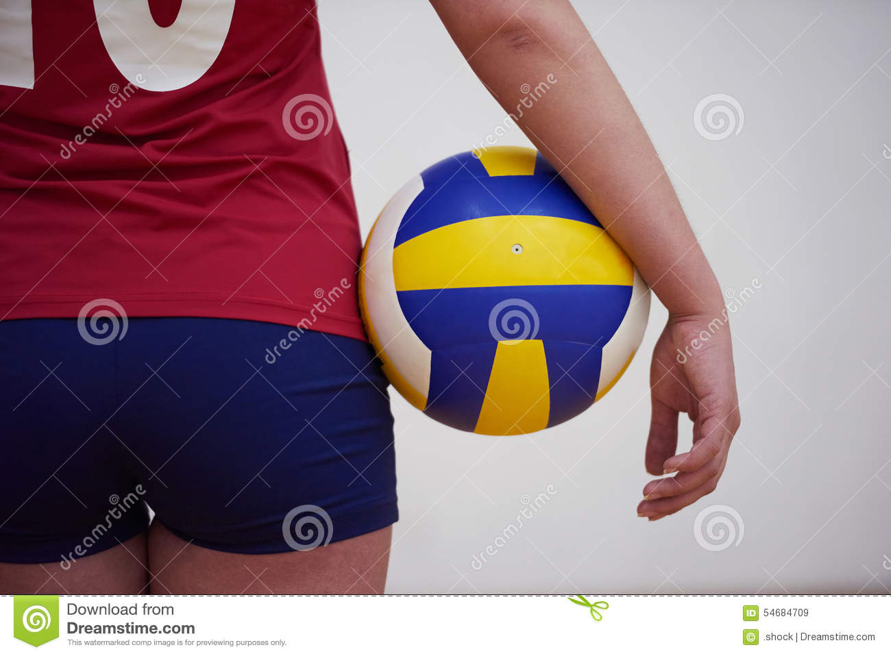 Female Player Holding Volleyball In The Court Stock Image