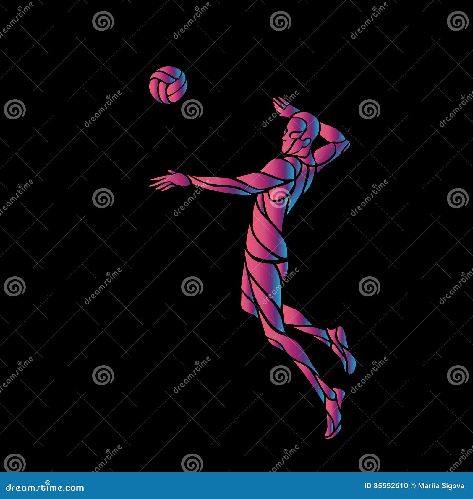 Volleyballangreifer-Spielerschattenbild