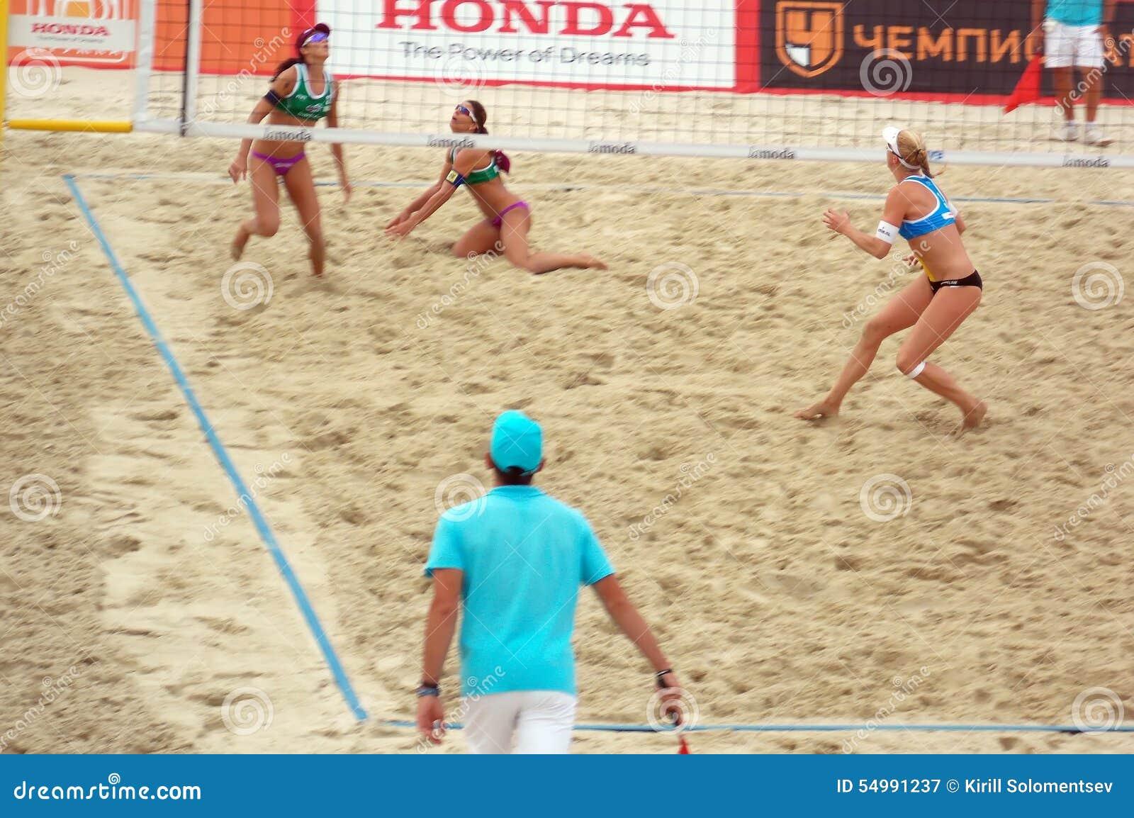 Volleyboll 2015 för strand för turnering för MoskvakörtelSlam
