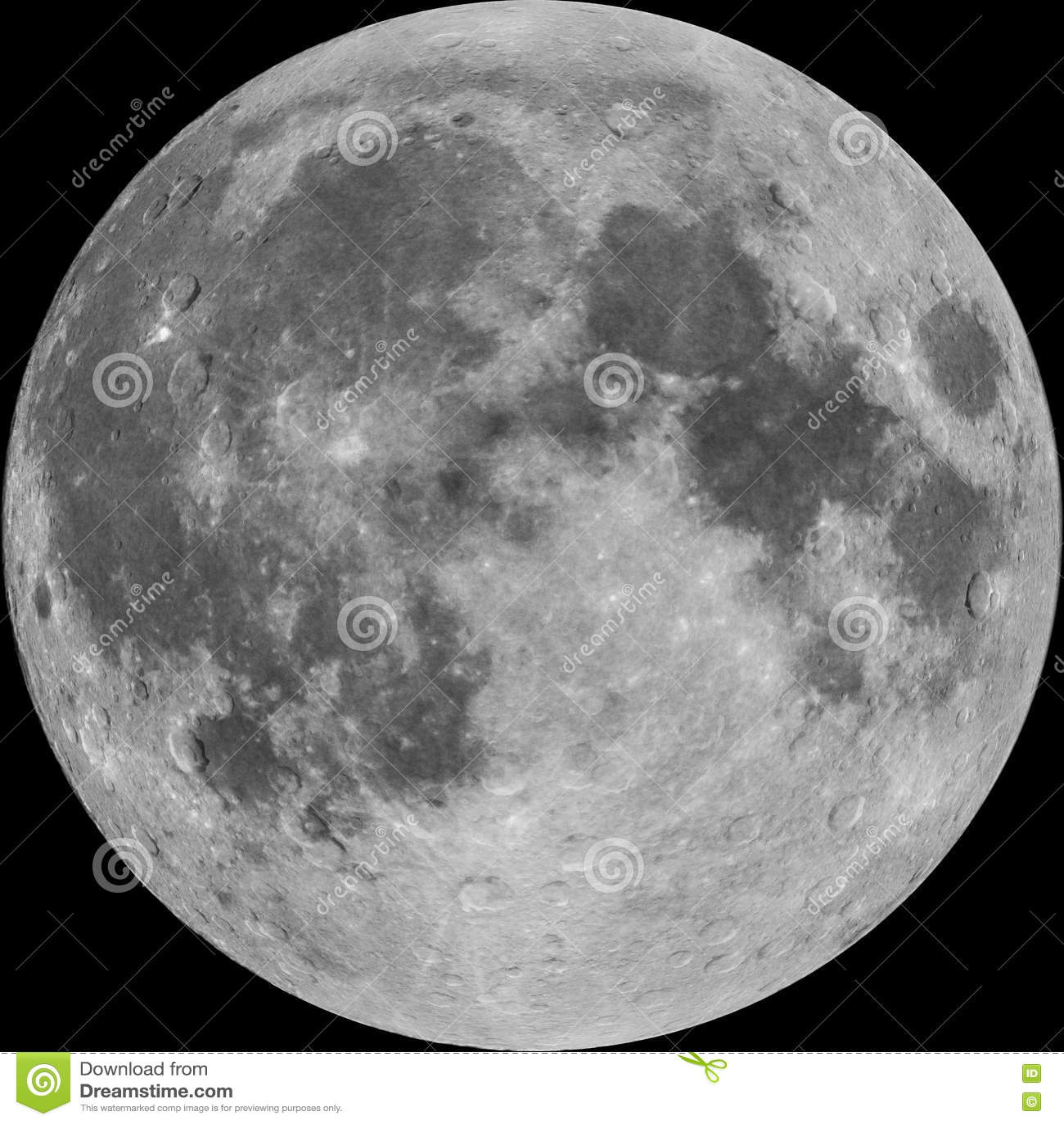 Vollmond, Foto kombinierte mit den erläuterten Kratern, lokalisiert