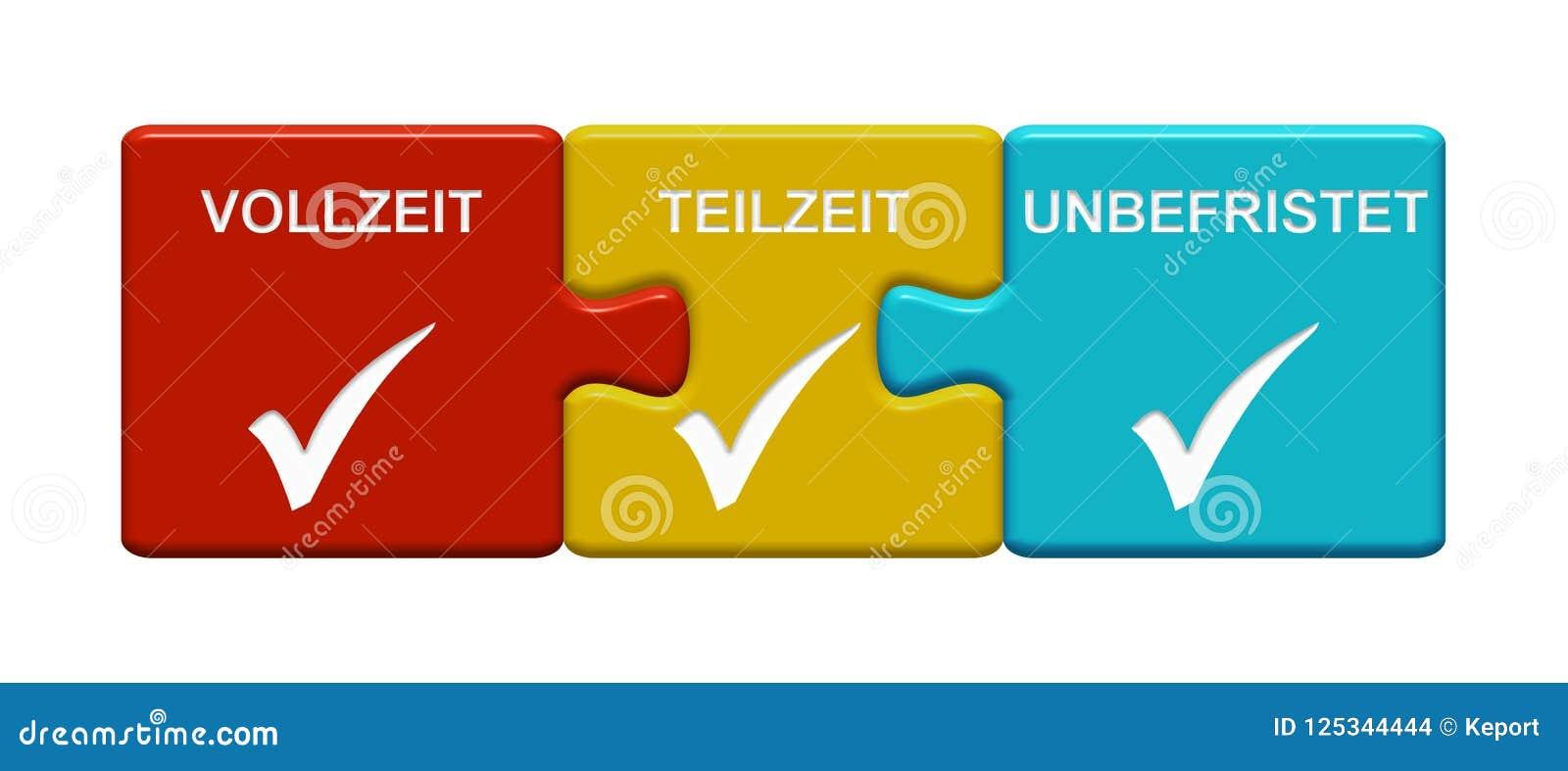 Vollzeit-, Teilzeit- und unaufhörlicher Deutscher Darstellens mit 3 Puzzlespiel-Knöpfen