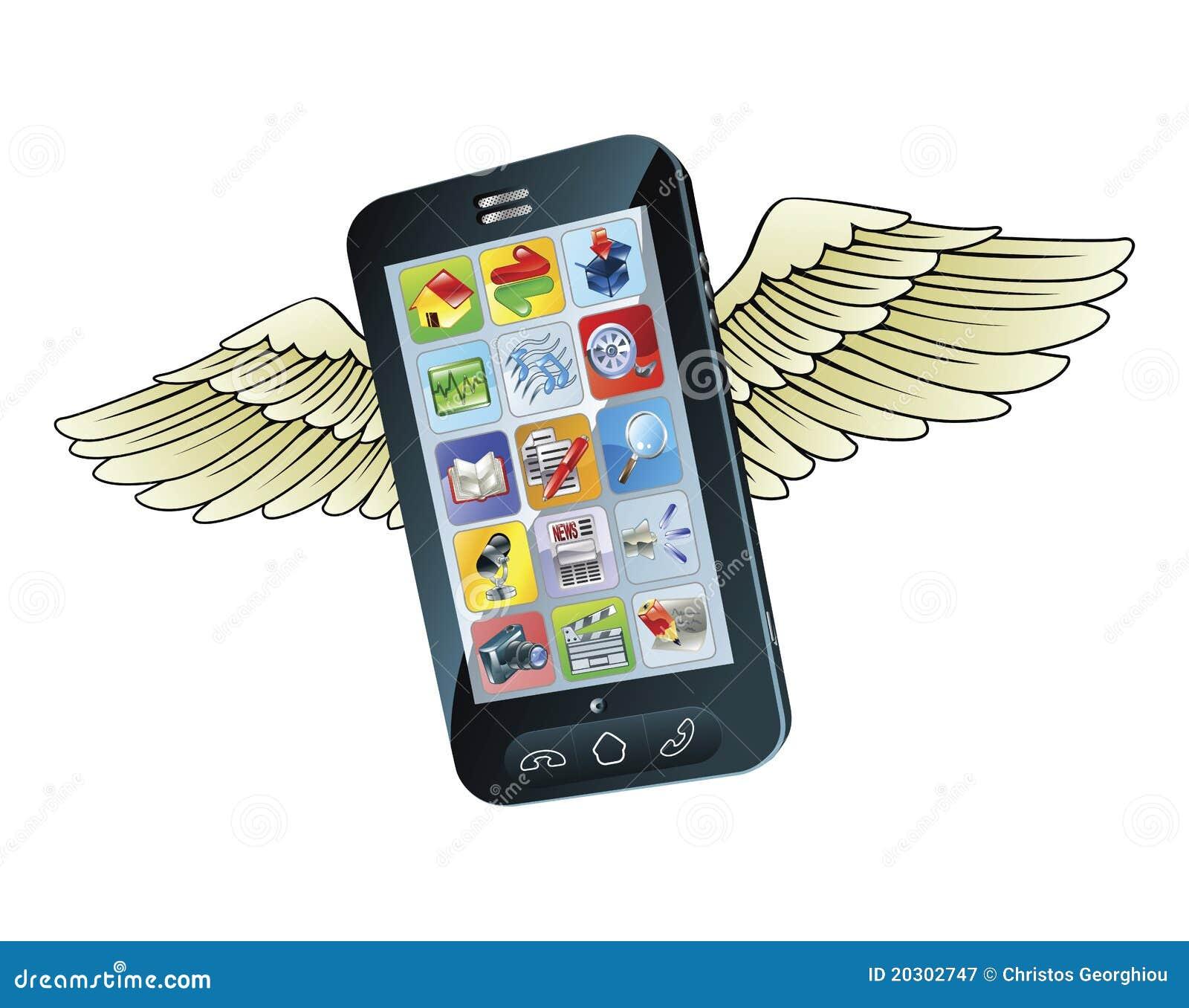 Volo astuto del telefono mobile con le ali fotografia for Mobile telefono