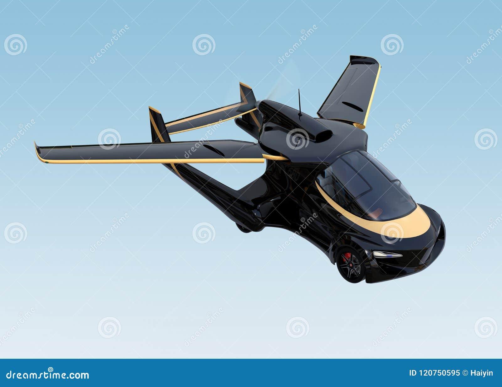 Volo autonomo futuristico dell automobile nel cielo