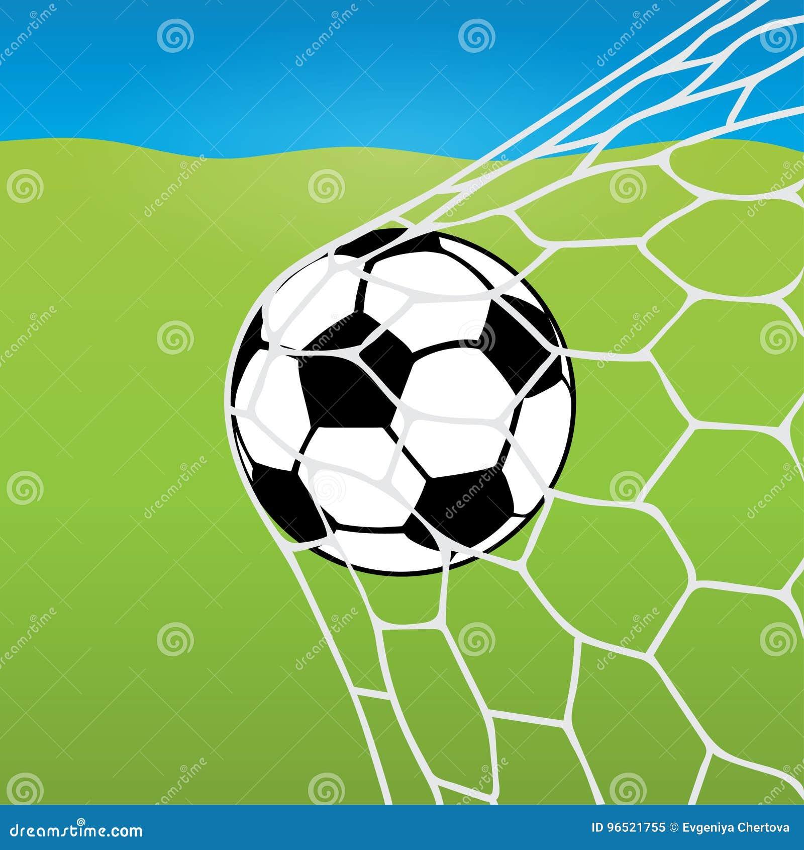 Volo Del Pallone Da Calcio Nella Rete Nella Palla Nello Scopo