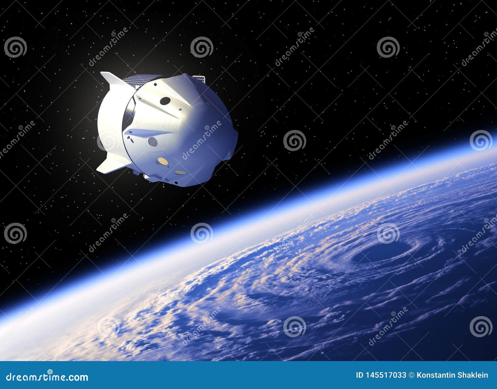 Volo del veicolo spaziale commerciale sopra il grande uragano