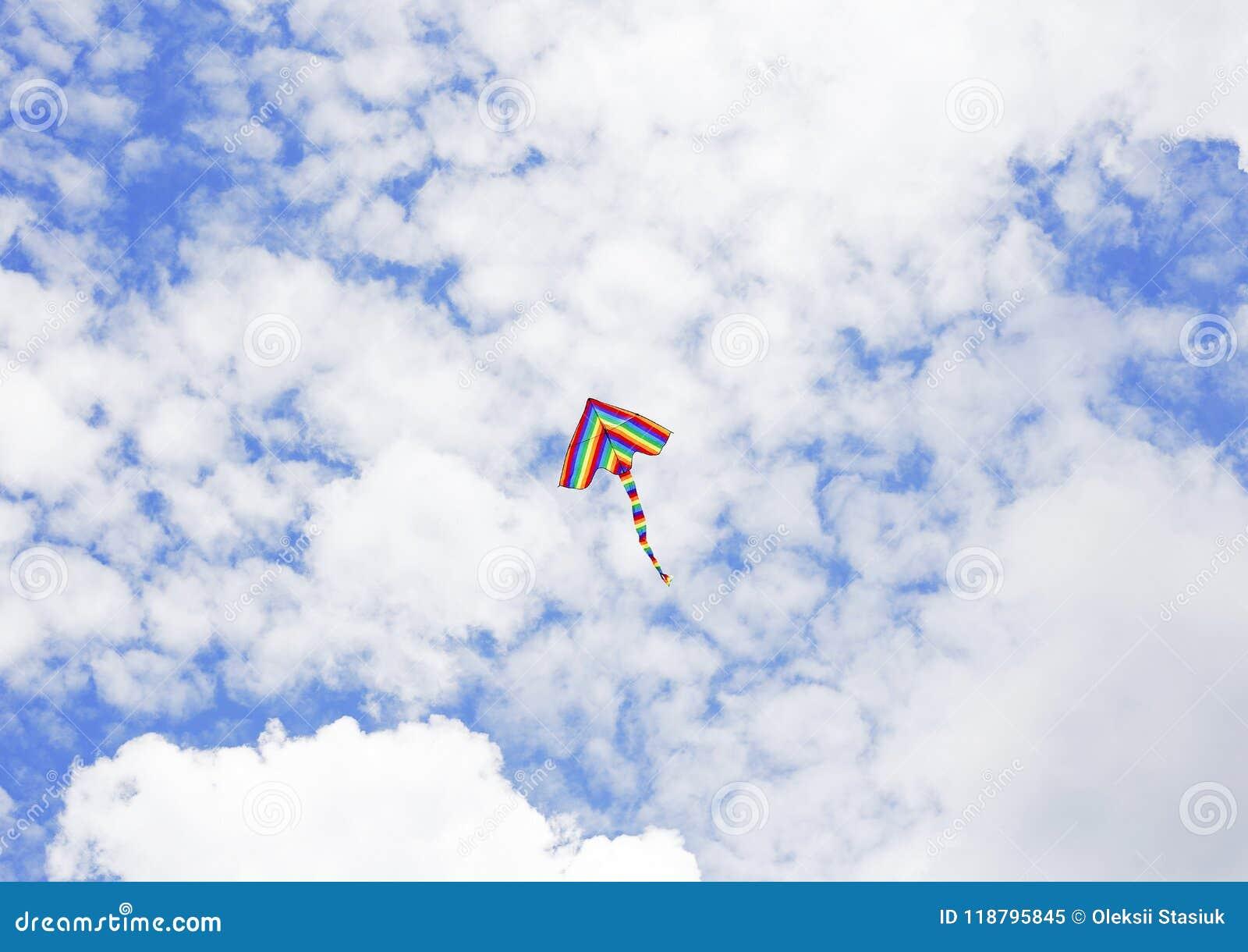 Volo dell aquilone nelle nuvole