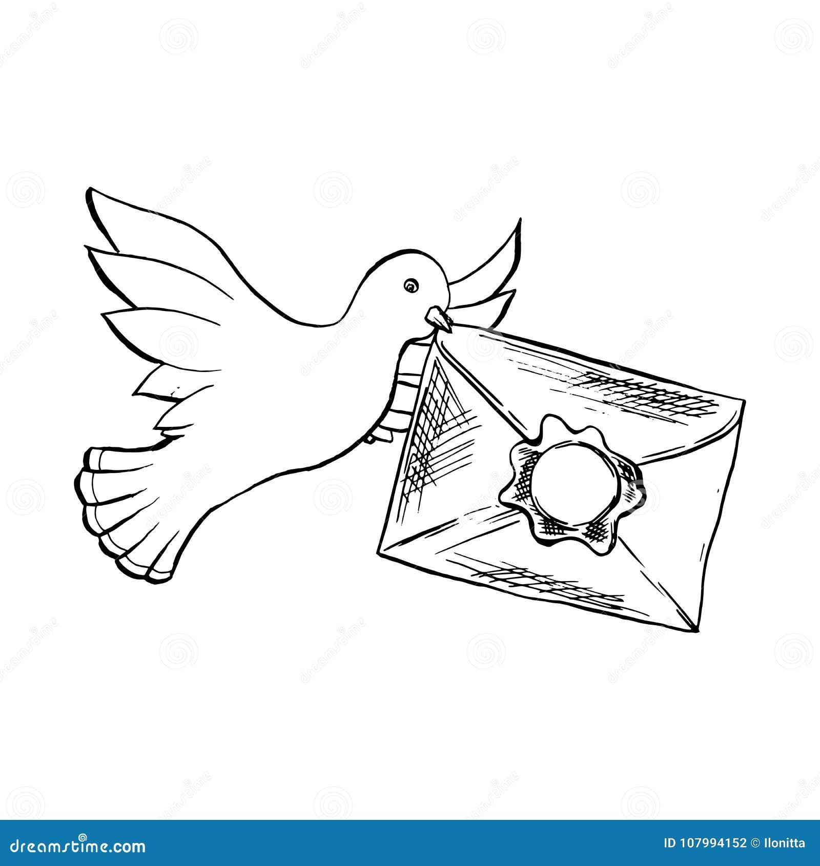 Volo Dell Uccello Della Colomba Con La Busta Nello Stile Di