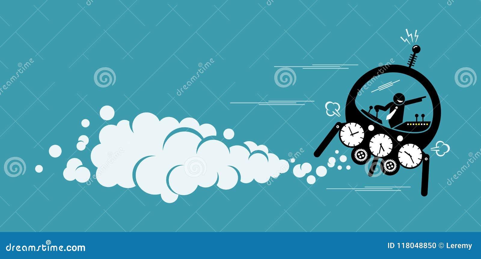 Volo dell uomo d affari in una macchina del tempo che va al futuro o al passato