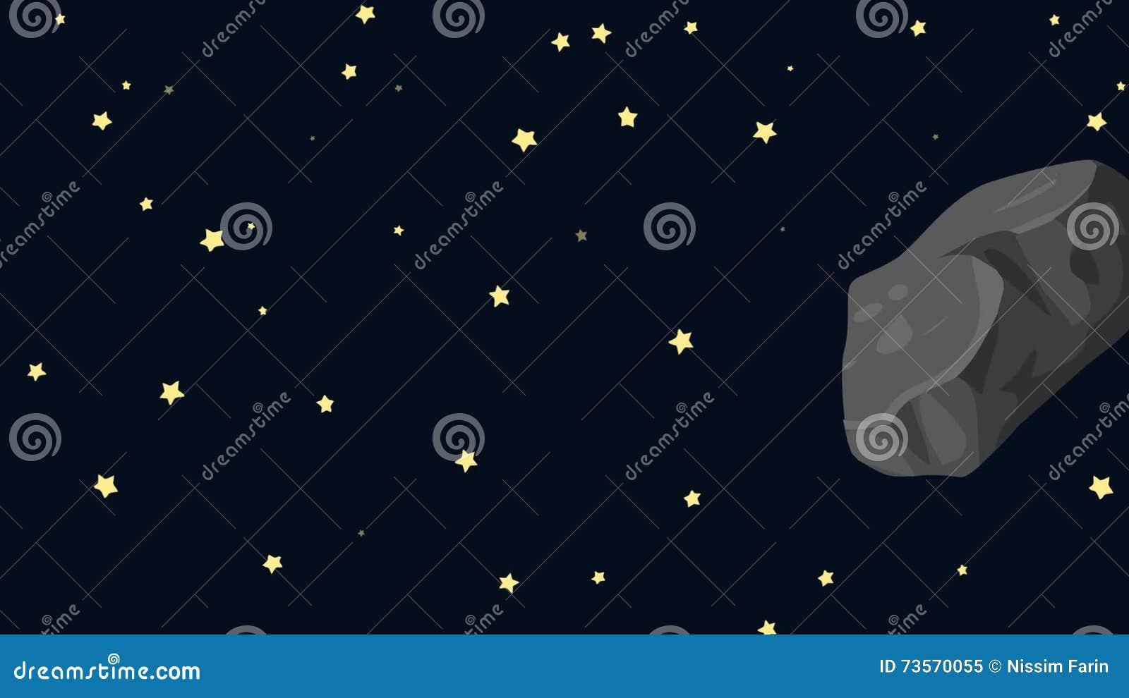 Volo della meteorite del cartone animato e librarsi nello spazio