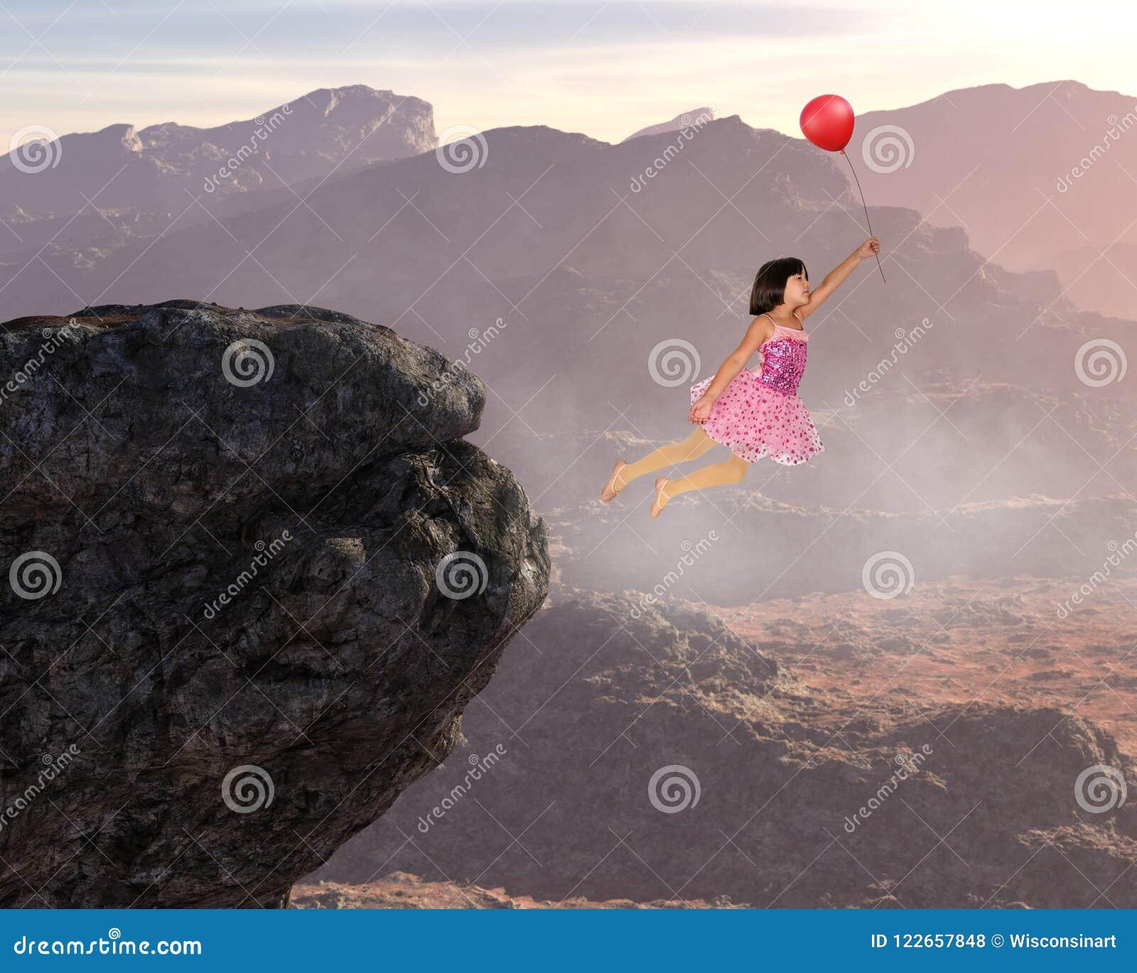 Volo della ragazza, pace, speranza, amore, natura, rinascita spirituale