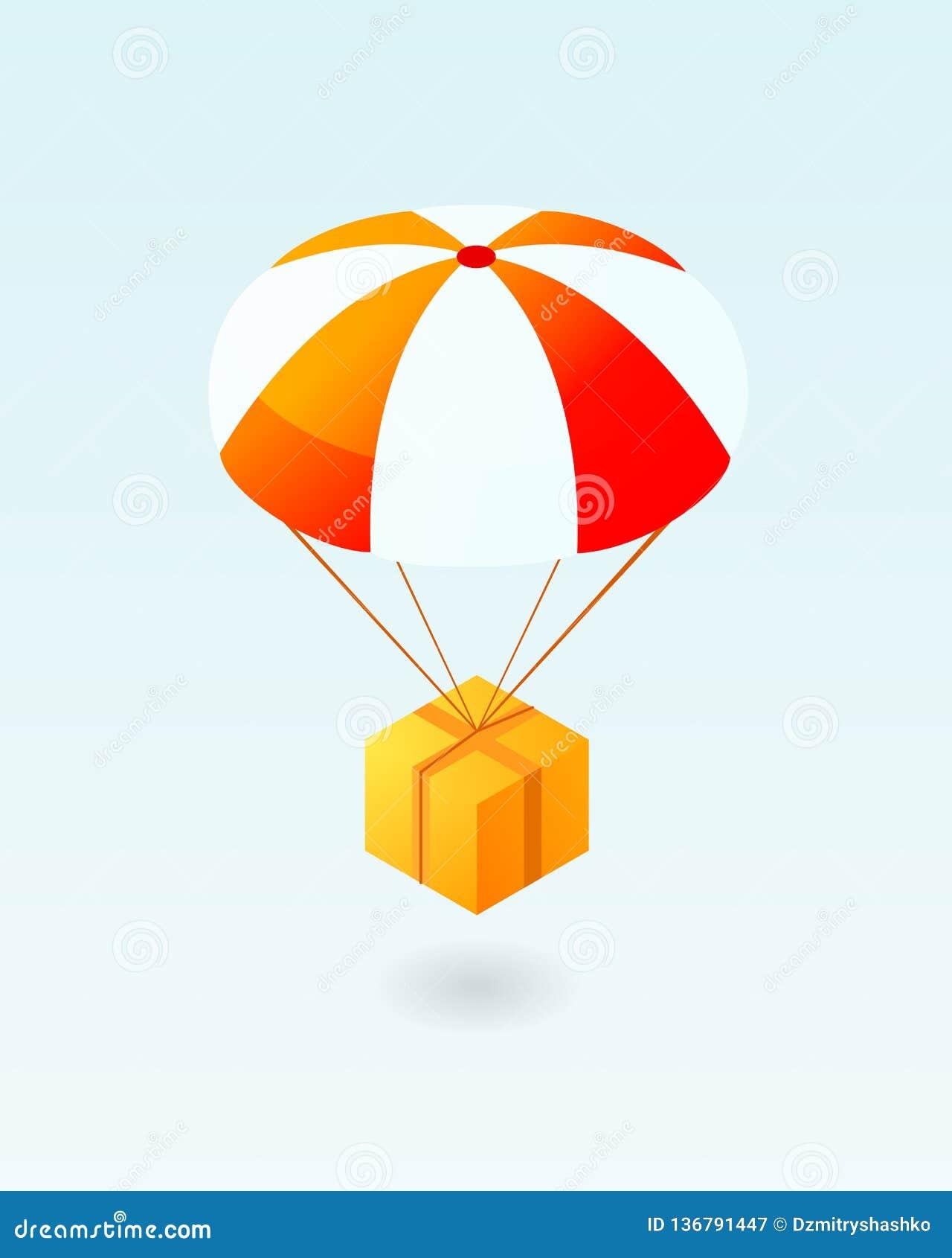 Volo della scatola sull icona del paracadute