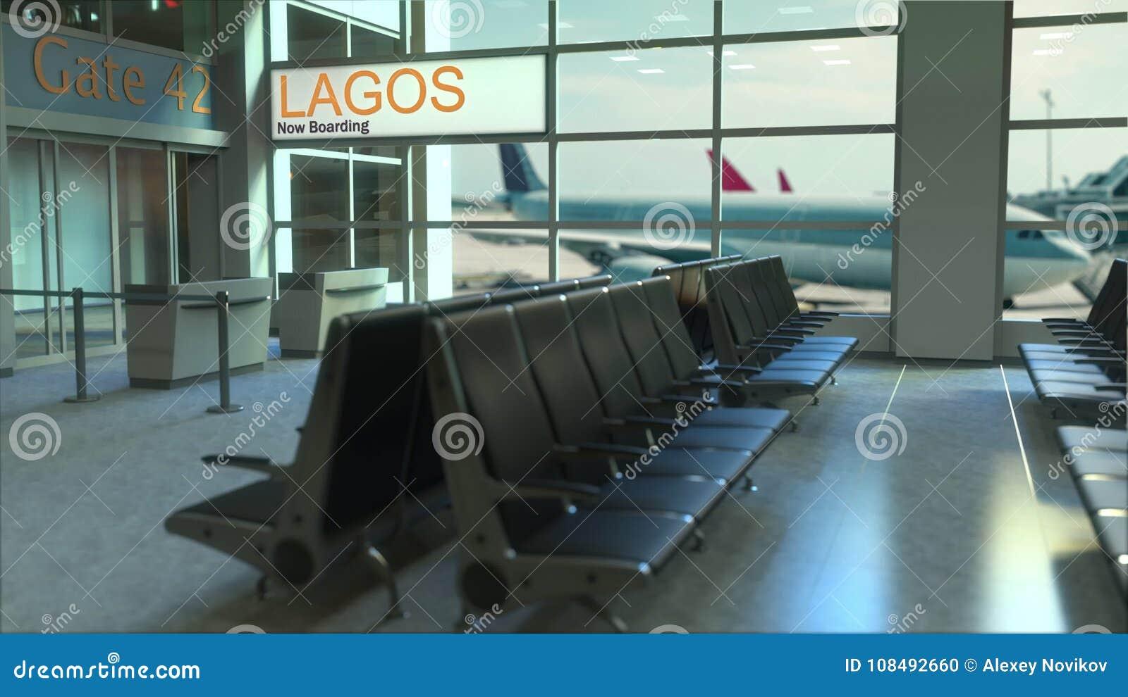Volo Di Lagos Ora Che Imbarca Nel Terminale Di Aeroporto Viaggiando  All animazione Concettuale Di Introduzione Della Nigeria f28ae8600c8bf