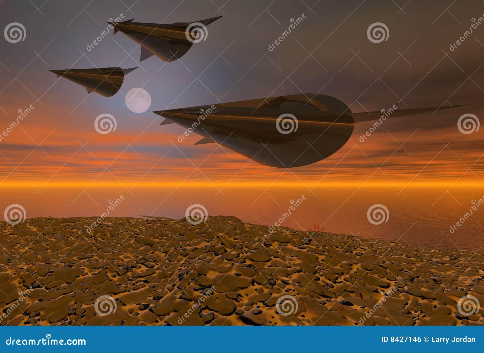 Volo di notte caldo delle astronavi