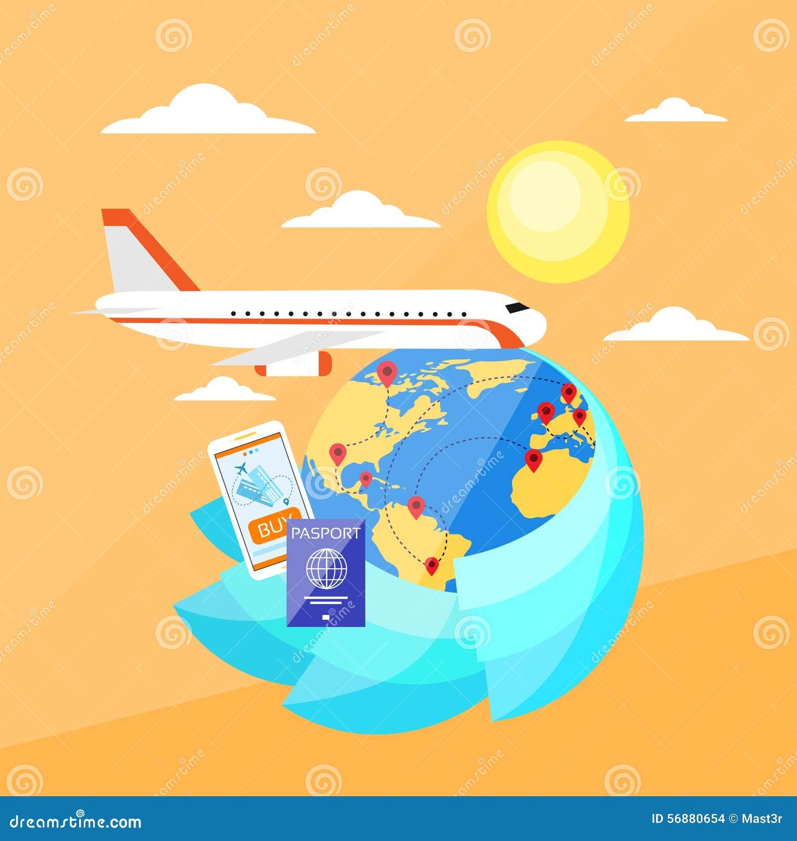 Volo piano online del biglietto di prenotazione di viaggio di vacanza
