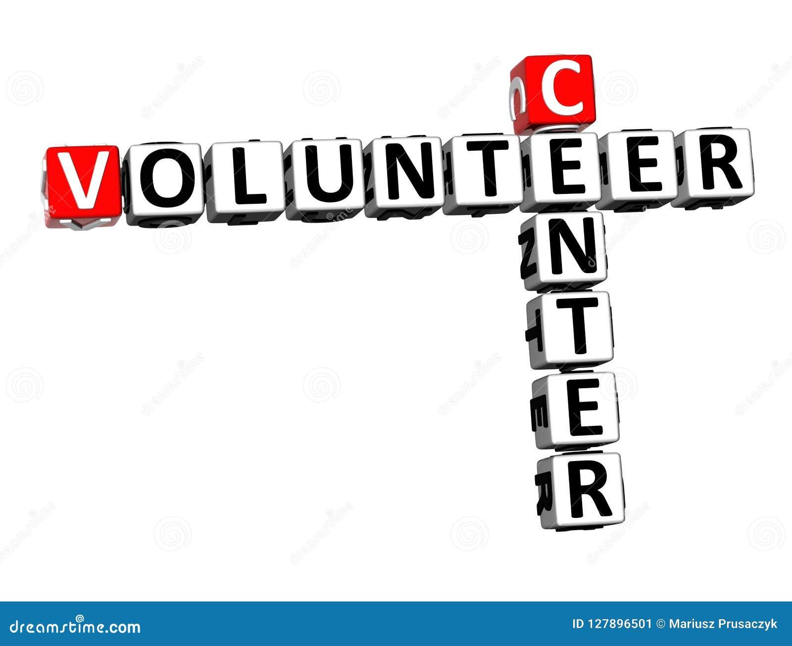Volontaire Word de centre de mots croisé du rendu 3D au-dessus de Backgrou blanc