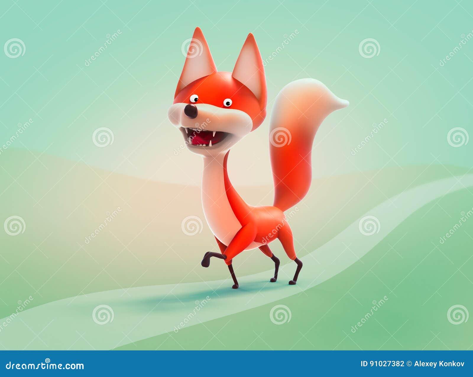 Volpe di camminata illustrazione del personaggio dei cartoni