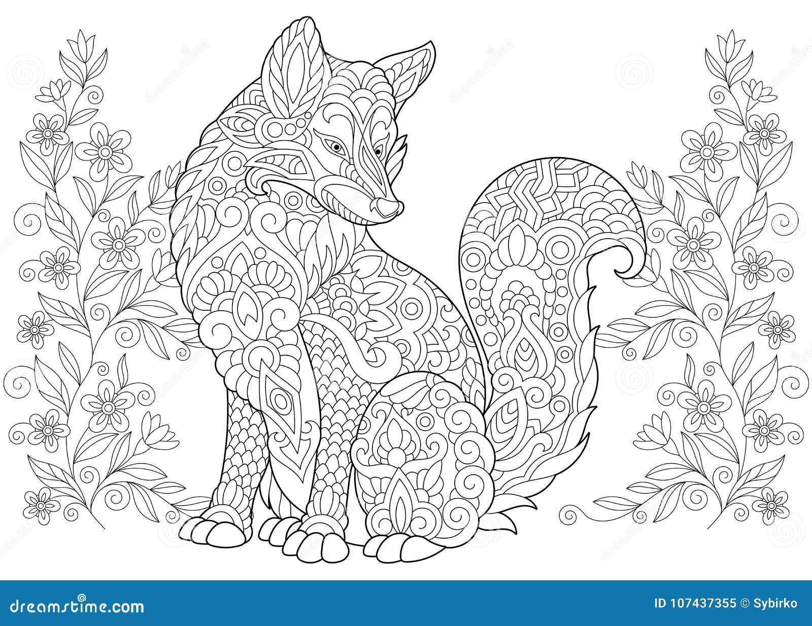 Volpe E Wildflowers Selvatici Di Zentangle Illustrazione