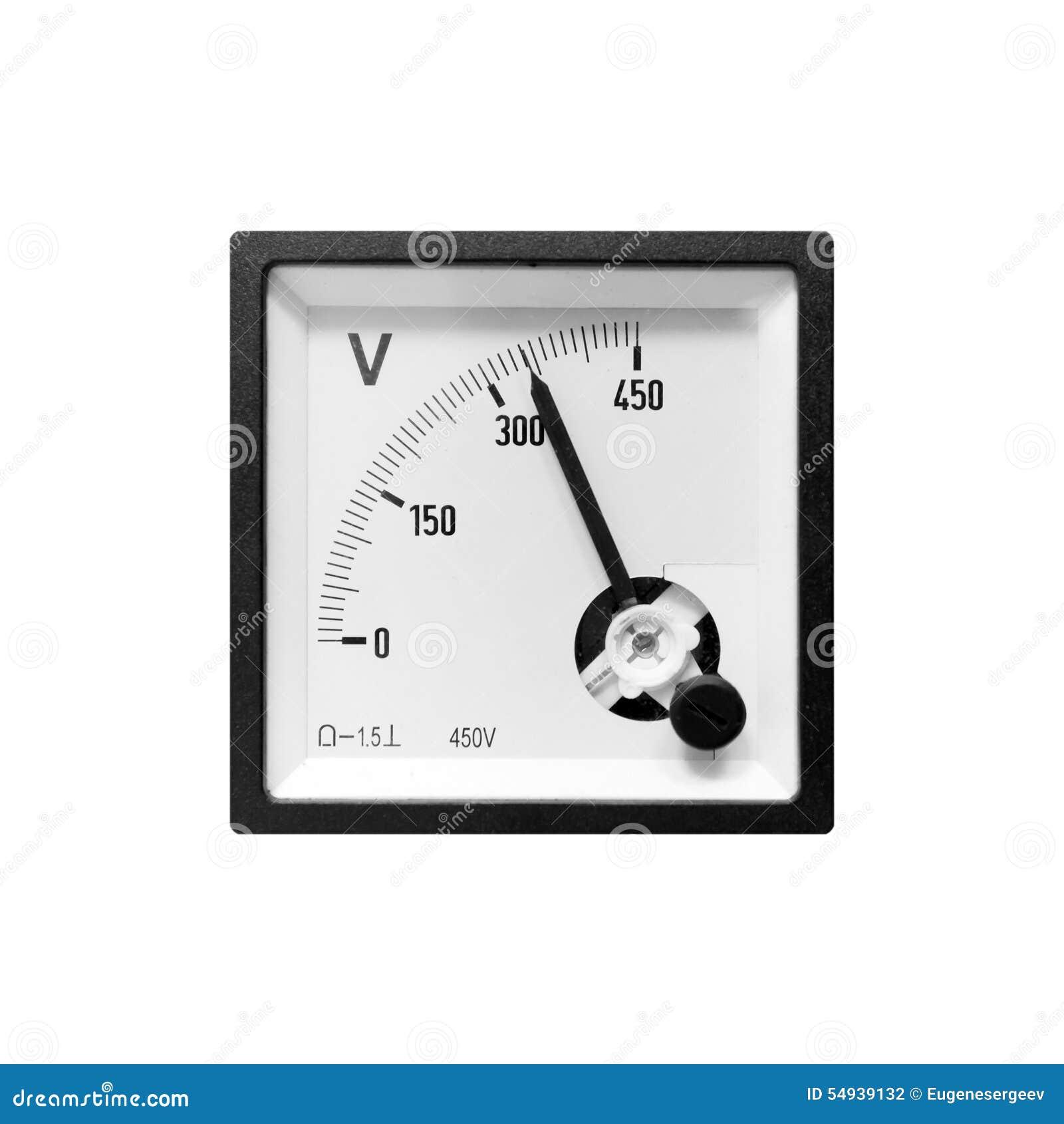 Voltímetro bonde análogo moderno no quadro preto