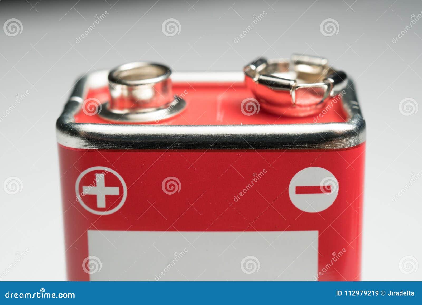 9 Volt battery Closeup at Poles