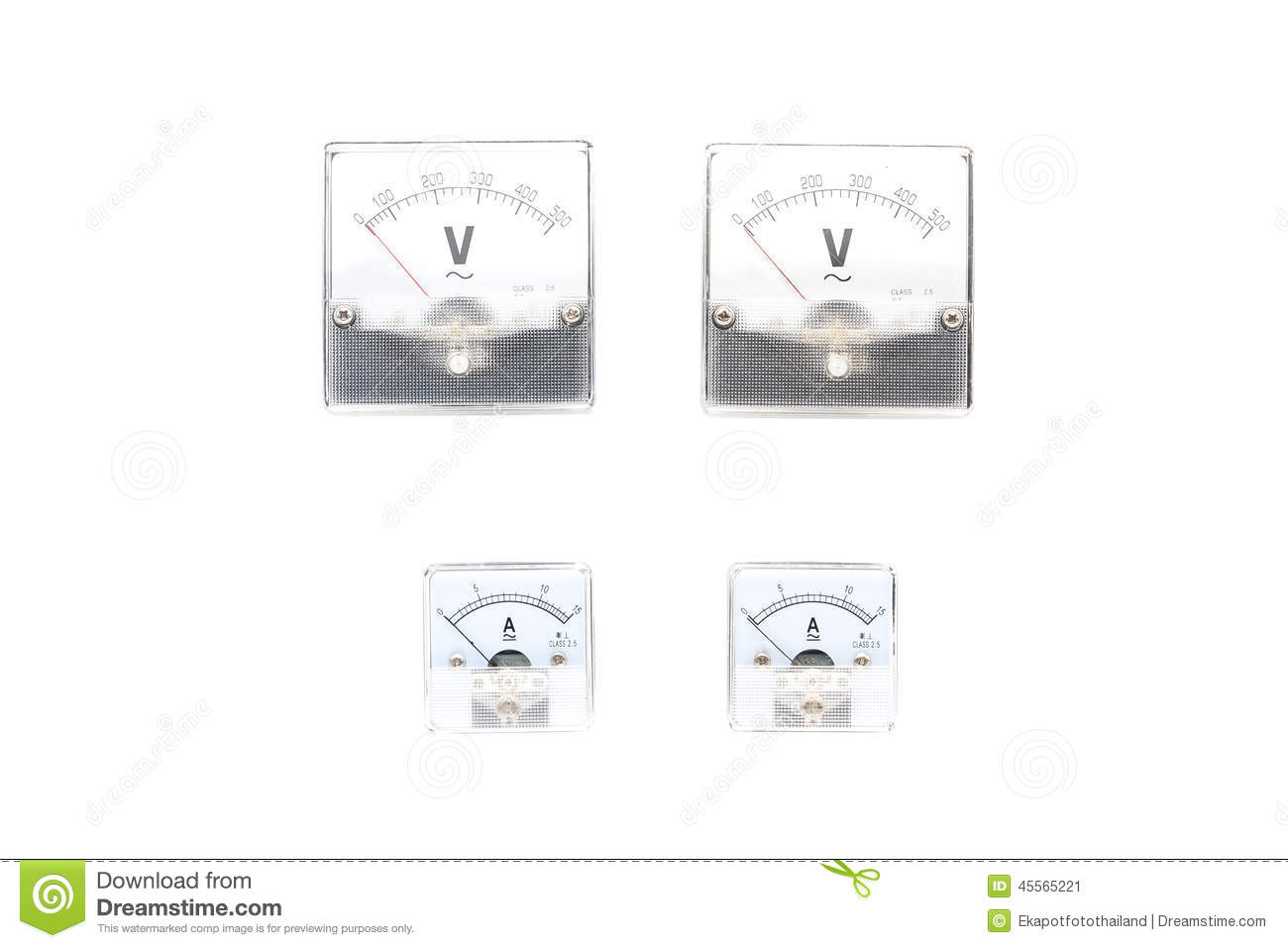 volt meters and amp meter stock photo