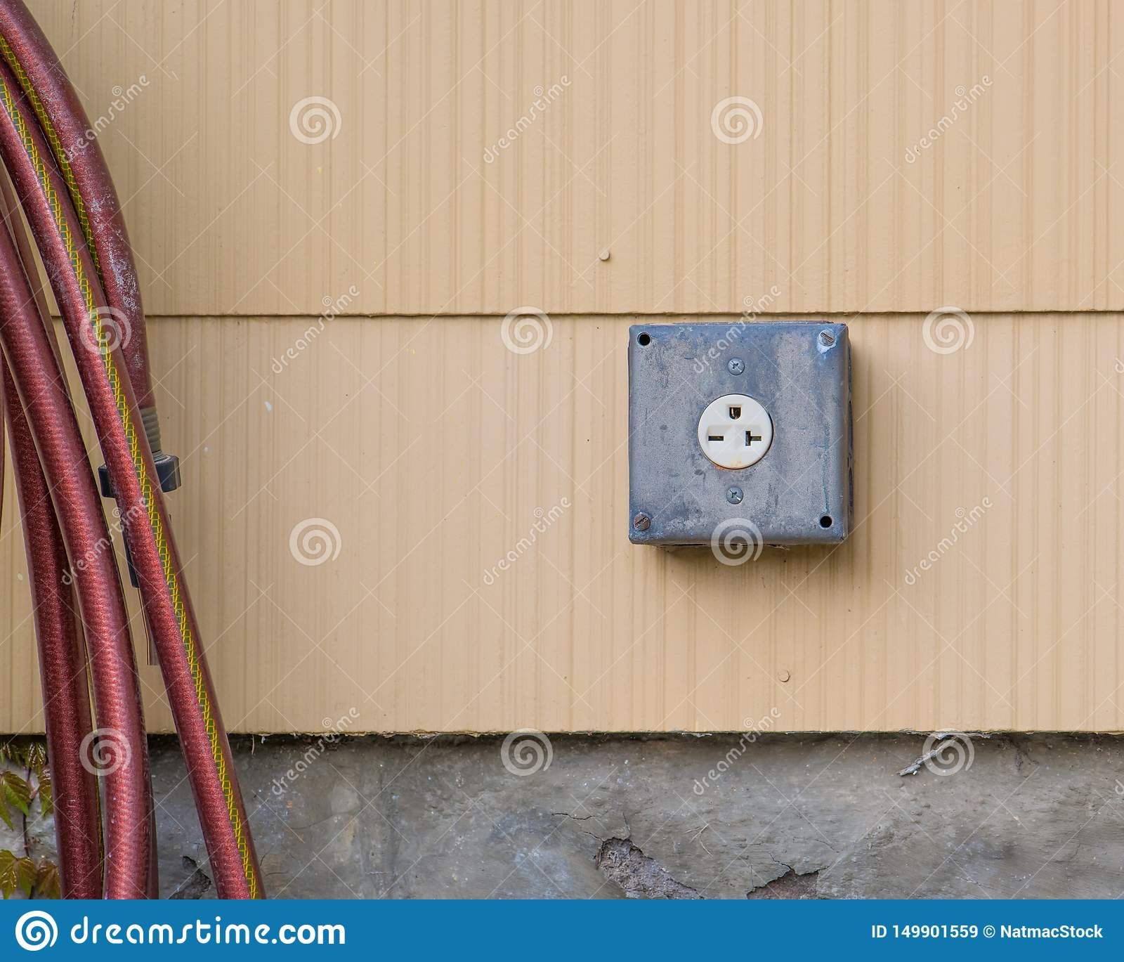 240 volt outlet on exterior of house