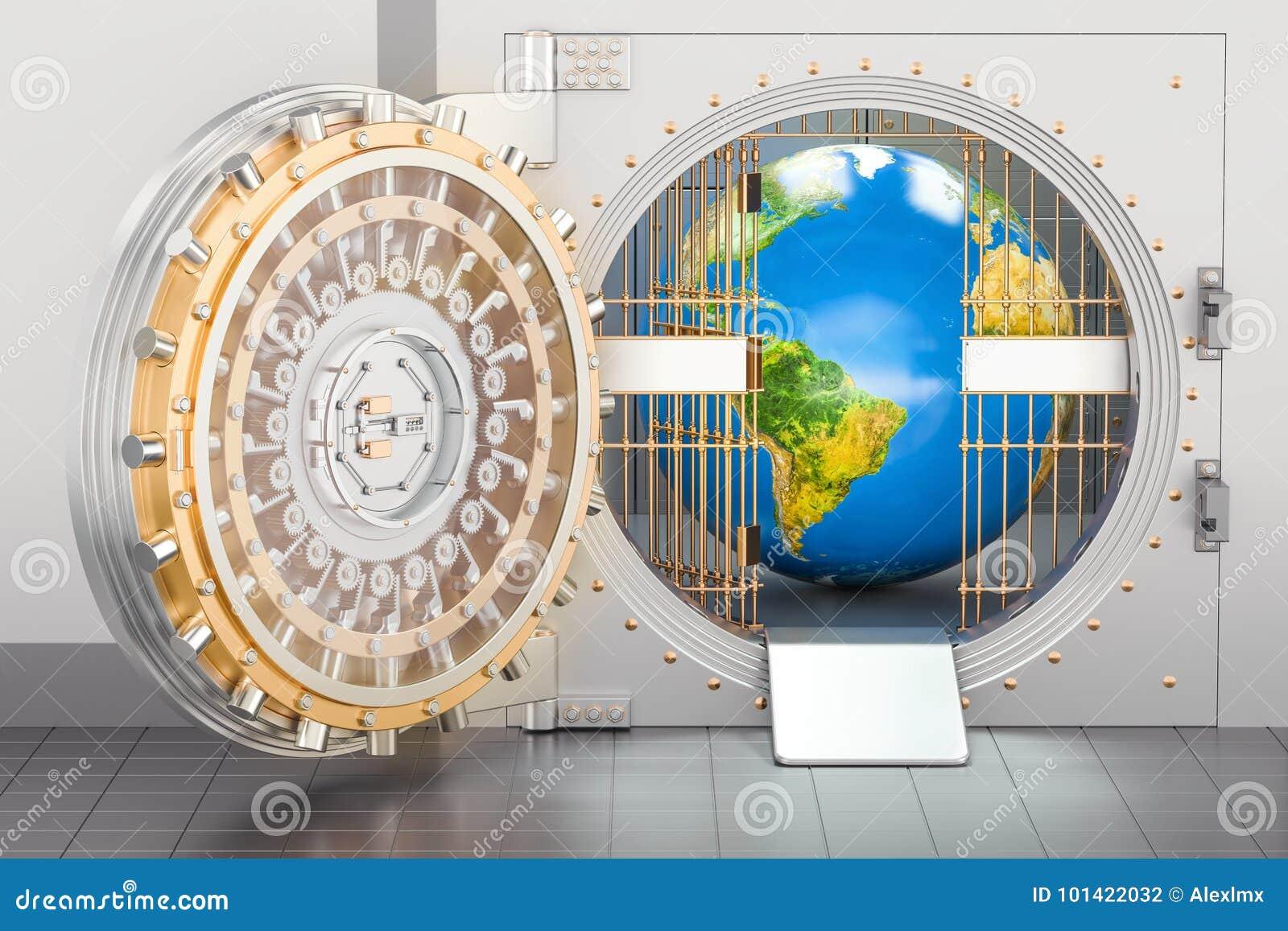 Volta di banca interna del globo della terra Concetto di protezione e di sicurezza,