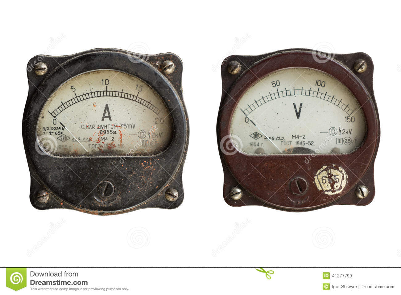Antique Volt Meter : Voltmeter and ammeter isolated on white background stock