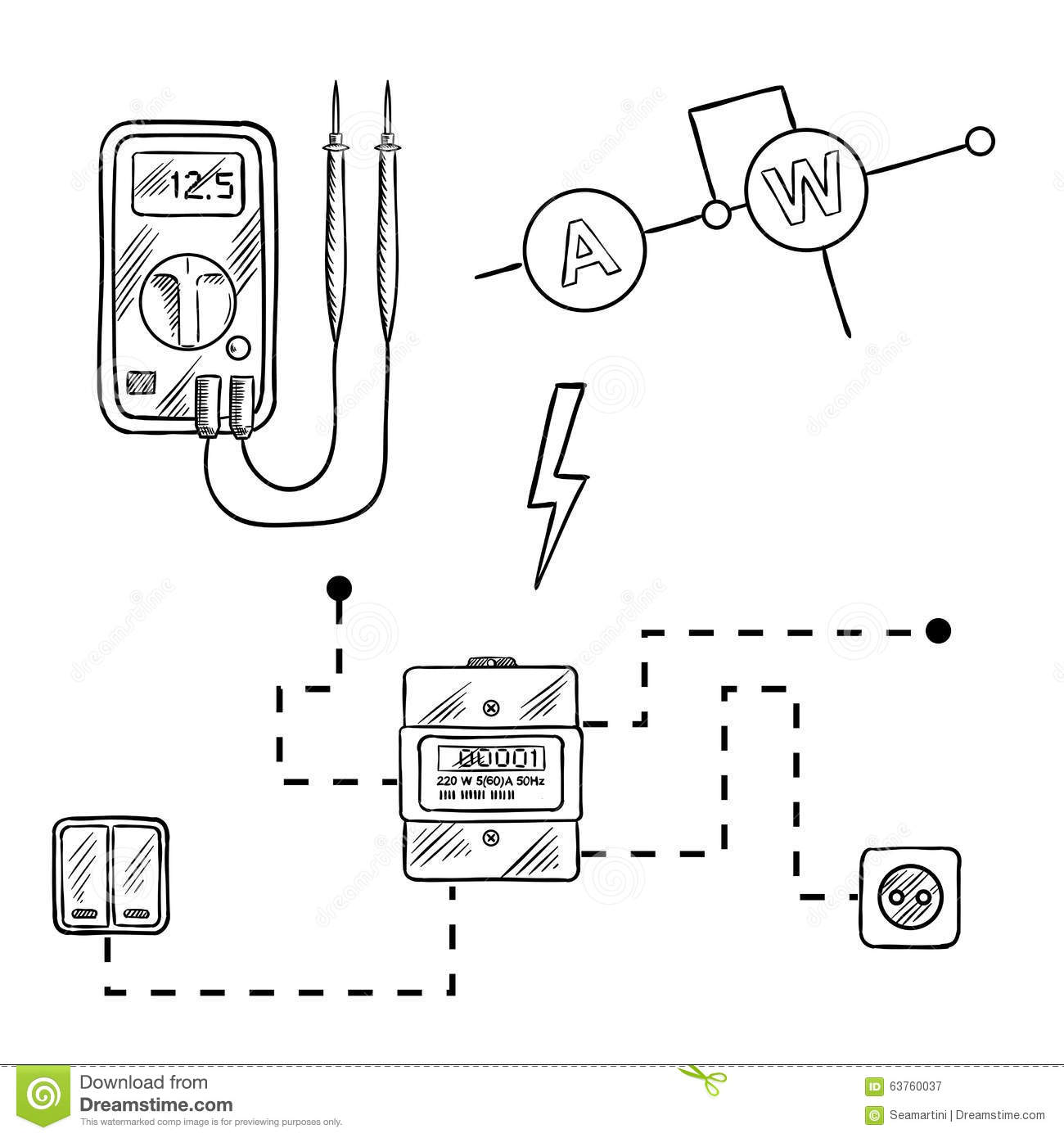 Stock Illustration Voltmeter Electricity Meter Electrical Circuit Sketch Digital Socket Switches Diagram Icons Supplies Image63760037 on industrial wiring symbols