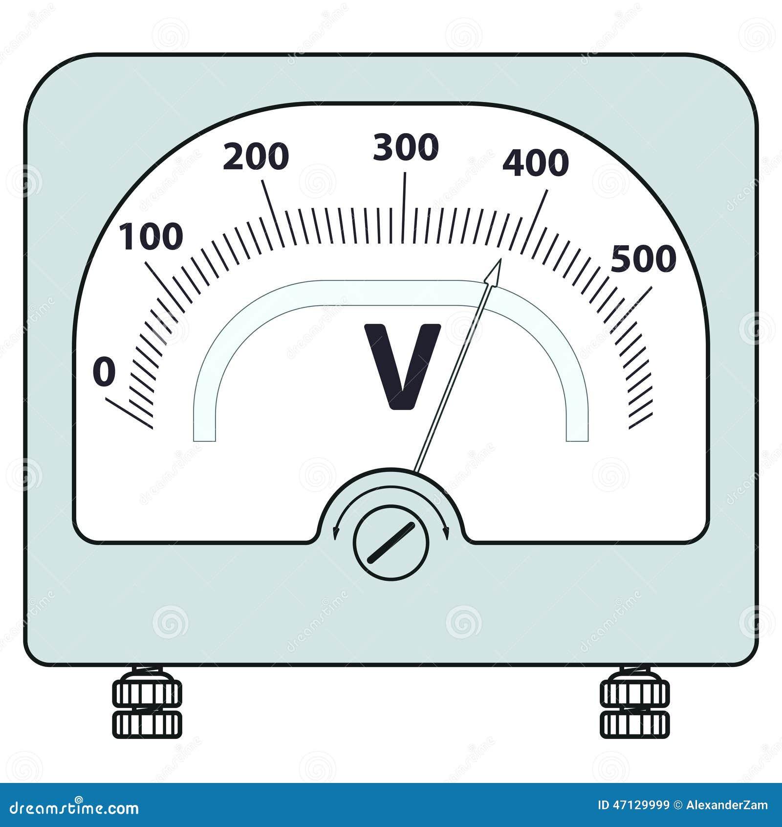 Cartoon Battery Tester : Voltmeter stock vector image