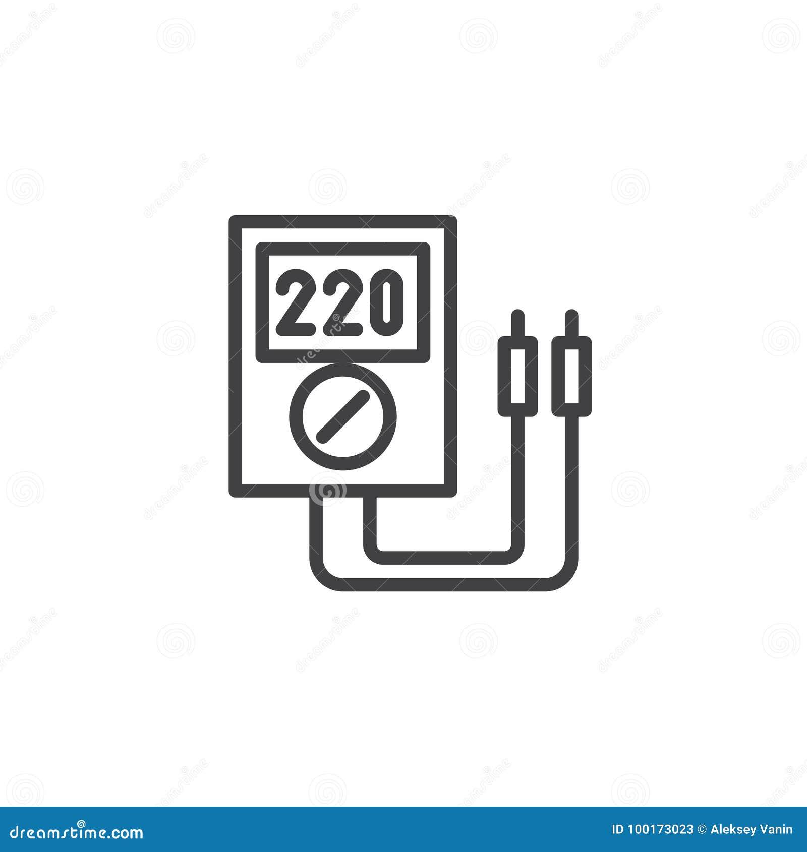 Voltmeter line icon stock vector. Illustration of stroke - 100173023